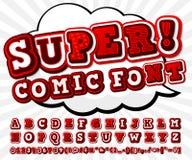 Red-white high detail comic font, alphabet. Comics, pop art Stock Image