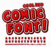 Red-white high detail comic font, alphabet. Comics, pop art