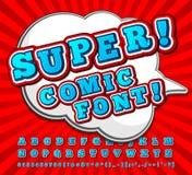 Red-white high detail comic font, alphabet. Comics, pop art Stock Photos