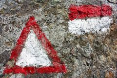 Red and white hiking trail signs symbols Stock Photography