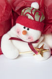 Red and white holiday snowman background. Royalty Free Stock Image