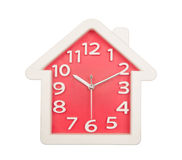 Red white house clock wall isolated on white Royalty Free Stock Images