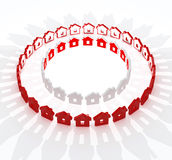 Red and white houses in circle metaphor Stock Photography