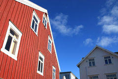 Red and white houses of Henningsvaer Stock Photo