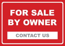For sale by owner illustration. Red and white illustrated sign for sale by owner royalty free illustration