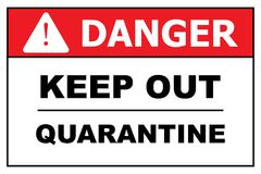 Danger, Keep out, Quarantine. Red and white illustrated warning sign with text graphics danger, keep out, quarantine Royalty Free Stock Photography