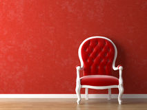 Red and white interior design vector illustration