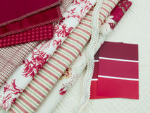 Red and white interior design plan. Red and white paint color swatches and upholstery material samples Royalty Free Stock Photography