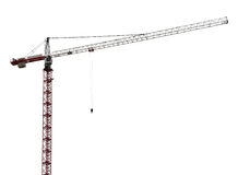 Red and white isolated hoisting crane Stock Images