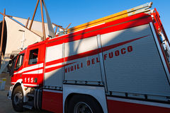 Red and White Italian Firetruck Stock Images