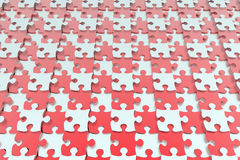 Red and white jigsaw puzzle background. 3D illustration of a red and white jigsaw puzzle pieces arranged in a pattern. The puzzle pieces are placed on different Stock Photos