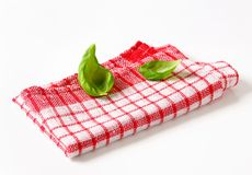 Red and white kitchen tea towel Royalty Free Stock Image