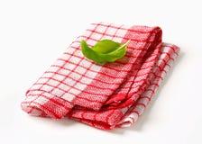 Red and white kitchen tea towel Stock Photos