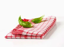 Red and white kitchen tea towel Royalty Free Stock Photography
