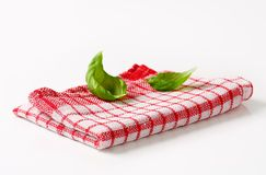 Red and white kitchen tea towel Royalty Free Stock Images
