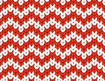Red and white knit Christmas knitted vector seamless pattern Stock Photography
