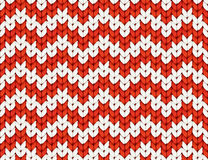 Red and white knit zig-zag Christmas knitted vector seamless pattern stock illustration