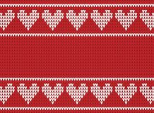 Red and white knitted background with hearts Royalty Free Stock Image