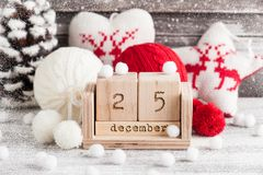 Red and white knitted balls. Calendar, christmas decoration stock image