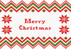Red and white knitted christmas background Royalty Free Stock Image