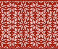 Red and white knitted snowflakes seamless pattern Stock Photography