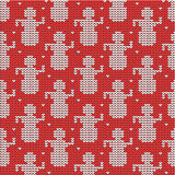 Red and white knitted snowmen background Stock Images