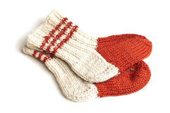 Red and white knitted socks. Over white background Royalty Free Stock Photo