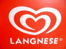 Red and White Langnese Logo Royalty Free Stock Photography