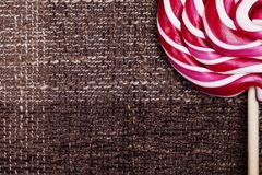 Red and white large spiral lollipop Royalty Free Stock Photo