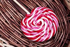 Red and white large spiral lollipop Royalty Free Stock Image