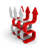 Red and white leader arrows on white background Royalty Free Stock Photos