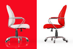 Red and White Leather Boss Office Chairs. 3d Rendering Stock Images