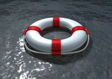 Red and white life belt on the sea Stock Photography