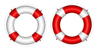 Red and white life buoy Stock Photo