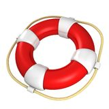 Red and white life buoy on white background Royalty Free Stock Photos