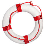 Red and white life preserver on white background. Red and white lifebuoy isolated against white background royalty free stock photography
