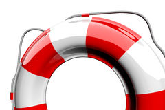 Red and white lifebelt. Isolated on white Stock Photography