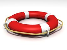 Red and white lifebuoy on white background Royalty Free Stock Photography