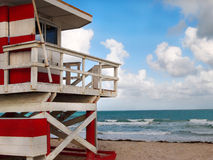 Red and White Lifeguard Shack Stock Photography