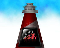 Red and white light house and GET MORE MONEY written on it illustration Stock Photos