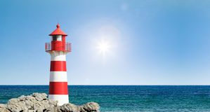 Red and white Lighthouse royalty free stock images