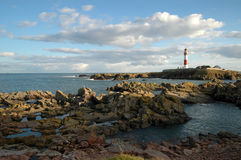 Red and White Lighthouse, Scotland. Royalty Free Stock Images