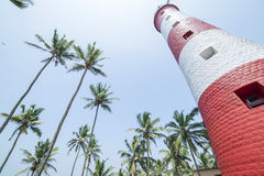 Red and white lighthouse surrounded by palm trees in India. Bottom view royalty free stock images