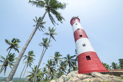 Red and white lighthouse surrounded by palm trees in India. Bottom view stock photo