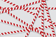 Red and white lines of barrier tape. stock illustration