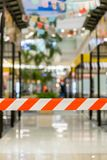 Red and White Lines of barrier tape. Striped, red and white tape that forbids passage. Red White warning tape pole fencing is protects for No entry stock image