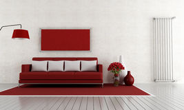 Red and white living room Stock Photos