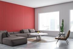 Red and white living room corner stock illustration