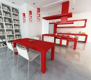 Red and white loft royalty free stock photo