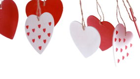 Red and white love heart decoration pending stock video footage